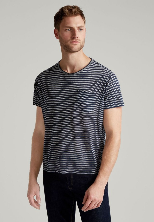 LINEN STR POCKET TEE - Basic T-shirt - navy/white