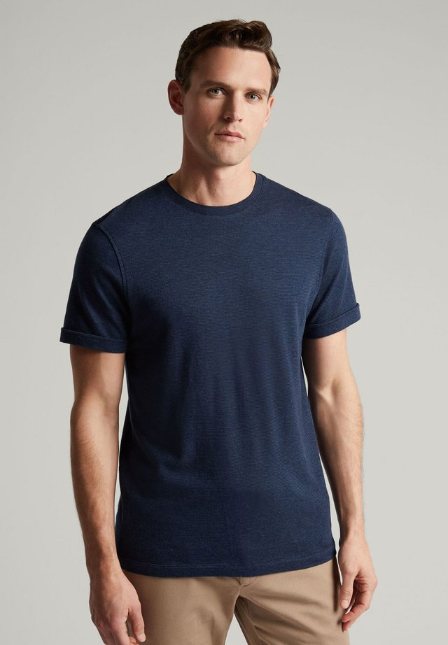 LINEN BLEND TEE - Basic T-shirt - navy