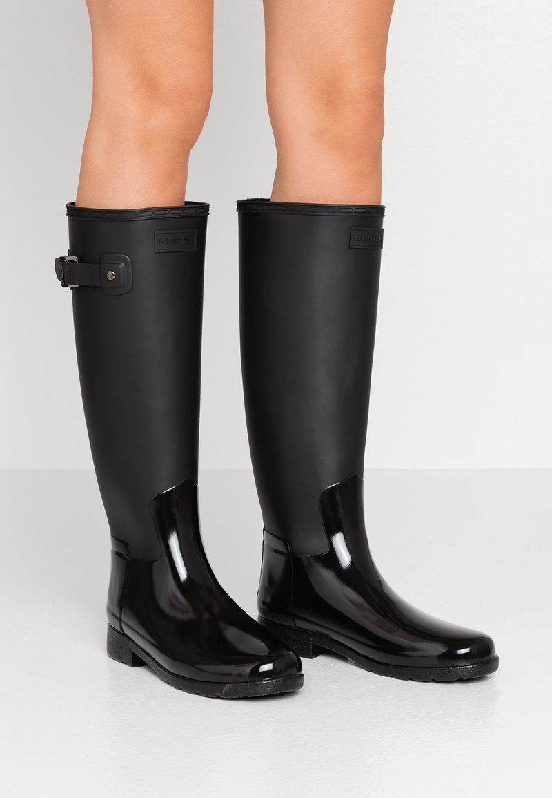 Hunter - WOMENS REFINED TALL GLOSS DUO - Wellies - black