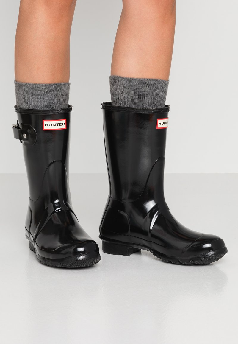 Hunter - ORIGINAL SHORT GLOSS - Wellies - black