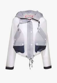 Hunter ORIGINAL - WOMENS ORIGINAL HERO CROPPED SMOCK - Waterproof jacket - white/navy/limpit - 4
