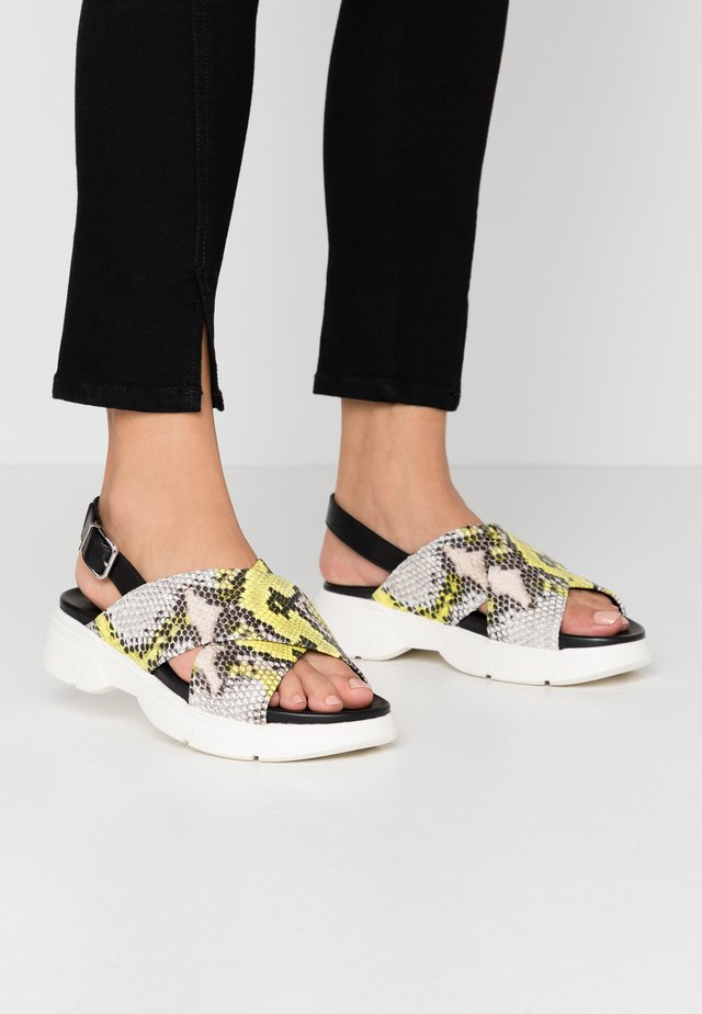 Platform sandals - multicolor/limone