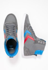 Hummel - SLIMMER STADIL - Zapatillas altas - castle rock/ribbon red/brilliant blue - 1