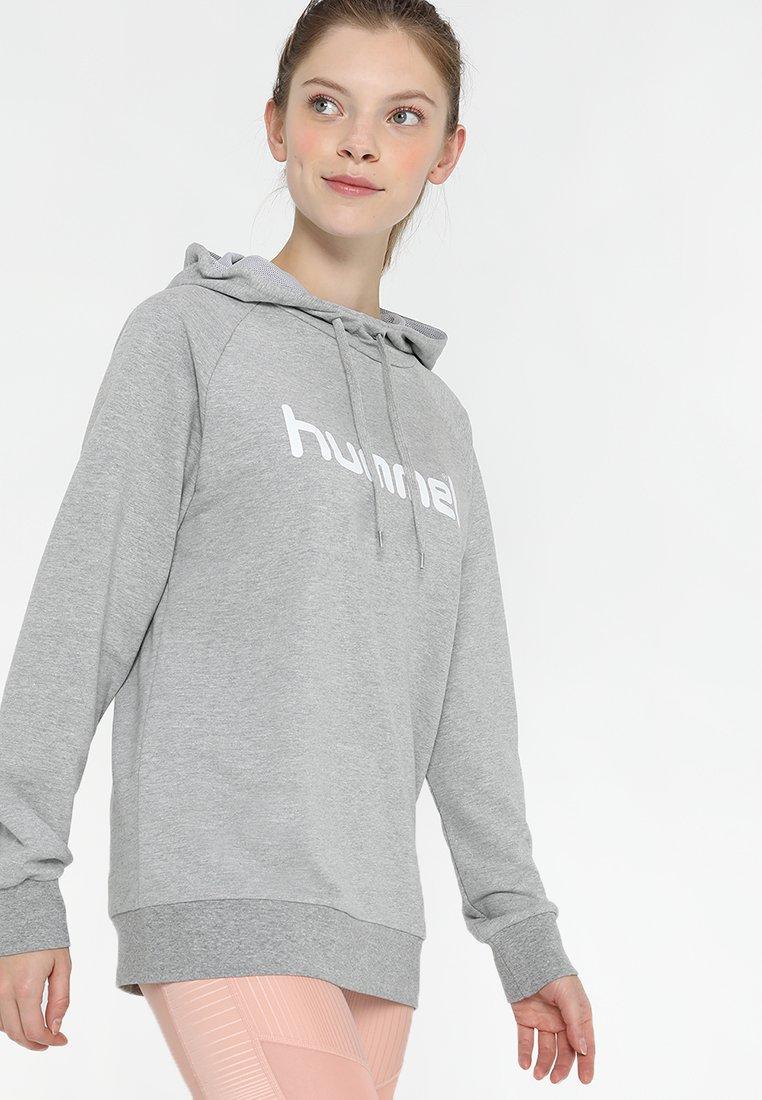 Hummel - GO LOGO HOODIE WOMAN - Hættetrøjer - grey melange