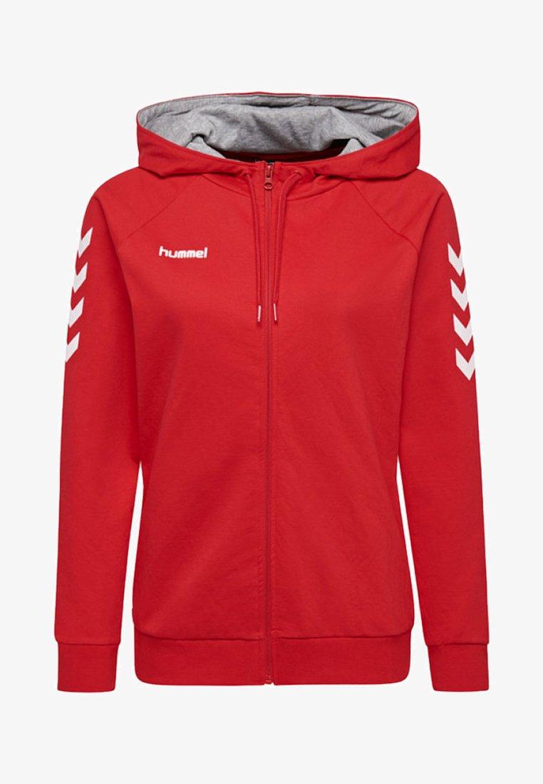 Hummel - HMLGO COTTON ZIP HOODIE - Sweatjakke /Træningstrøjer - true red