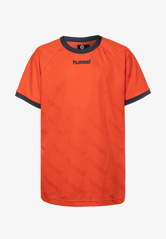 HMLLUCAS - Camiseta estampada - mandarin red