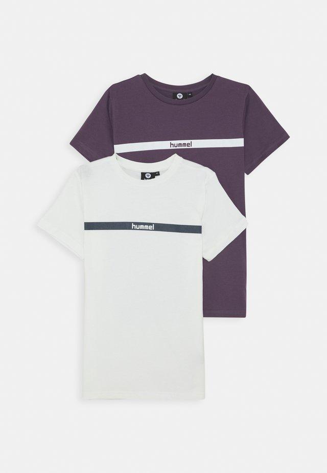 HMLLAN 2 PACK - T-shirts med print - vintage violet/marshmallow