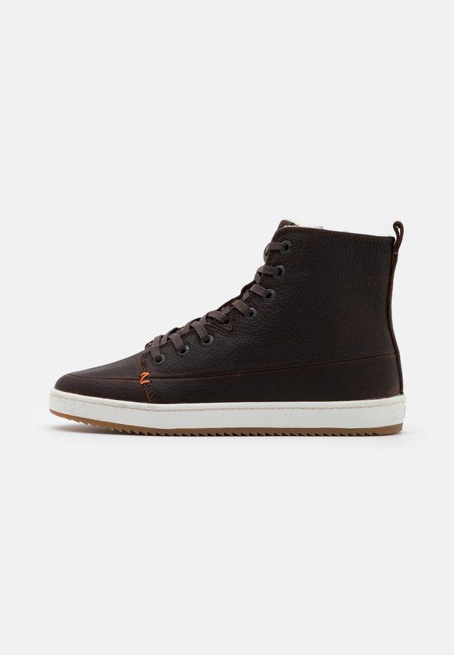 BASE - Korte laarzen - dark brown/offwhite