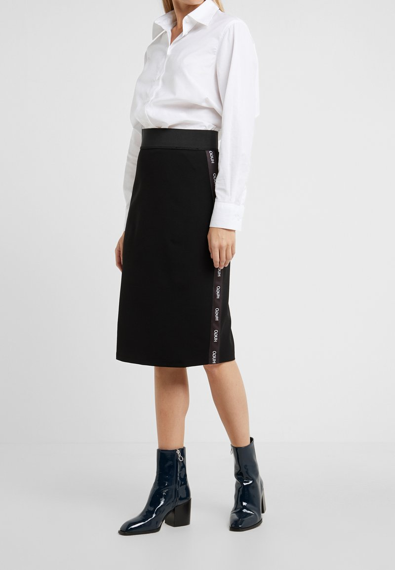 HUGO - NEEMA - Pencil skirt - black/white