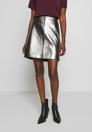 LOSARI - A-lijn rok - metallic grey