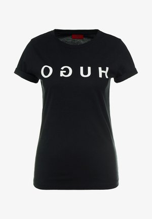 DENNA - T-shirt con stampa - black/white