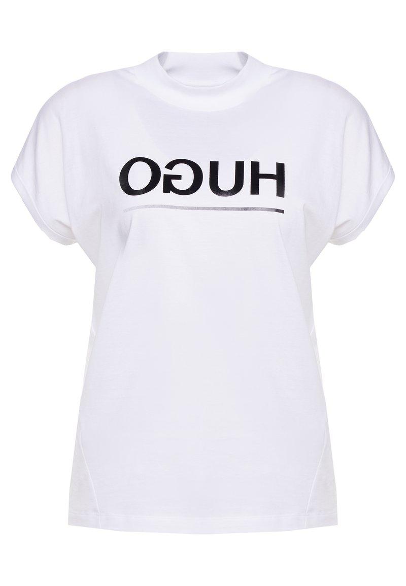 HUGO - DENNALINA - Print T-shirt - white black