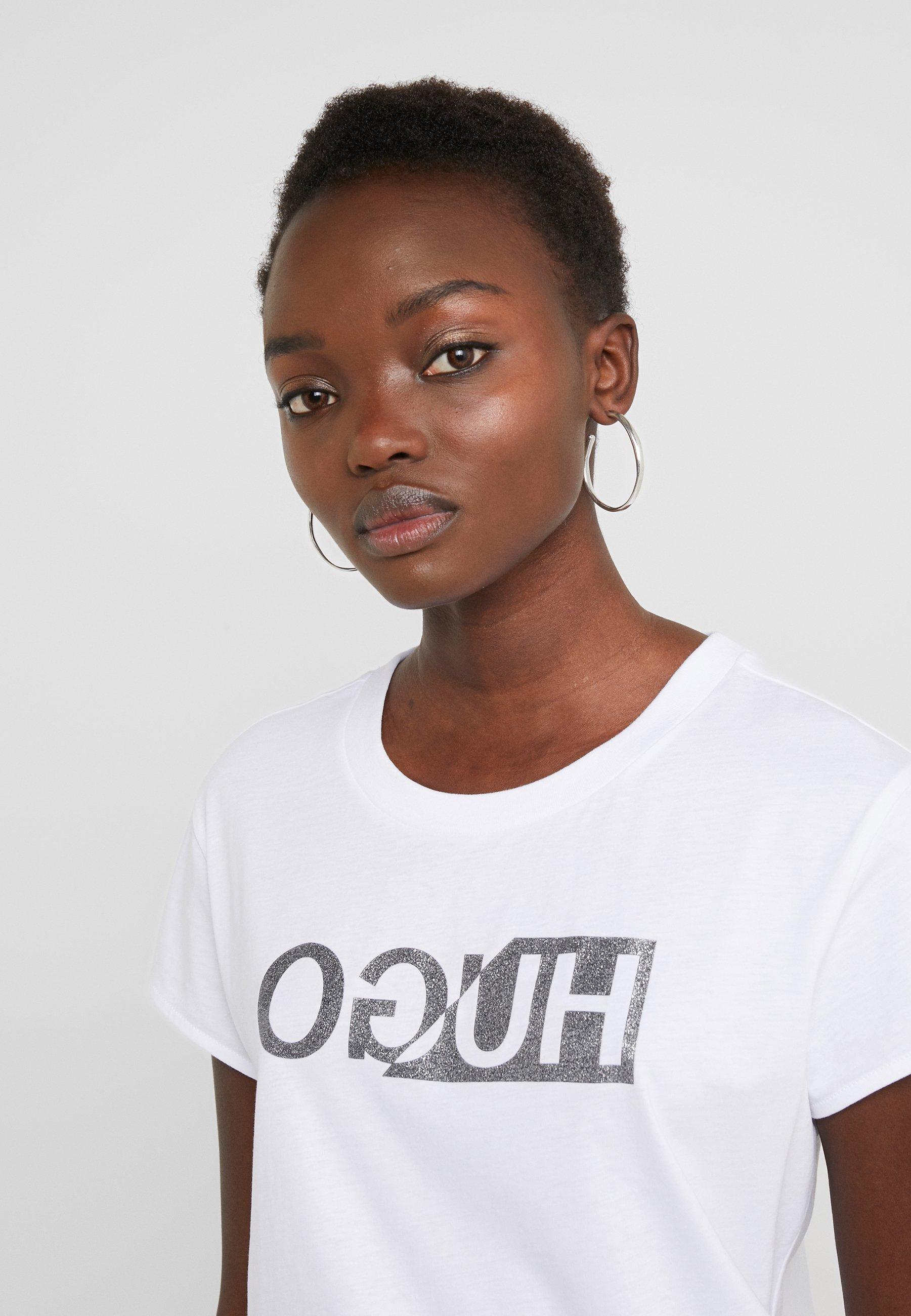 HUGO DIJALA - T-shirt z nadrukiem - white