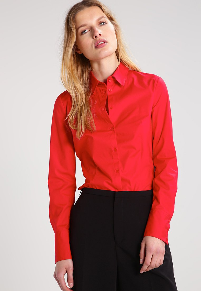 HUGO - ETRIXE - Button-down blouse - bright red