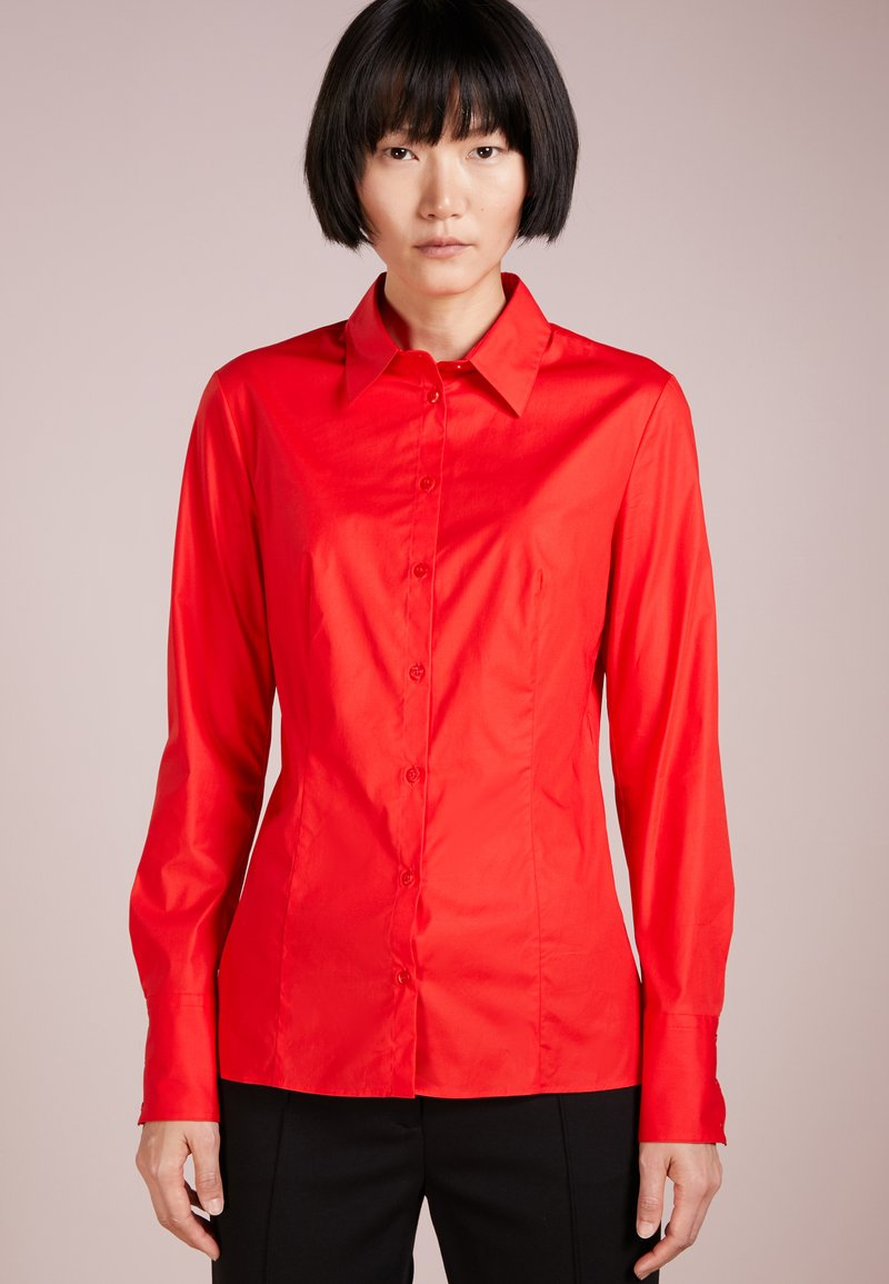 HUGO - ETRIXE - Button-down blouse - medium red