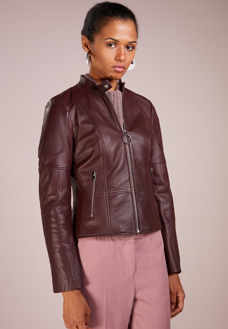 HUGO - LADANI - Leather jacket - dark red