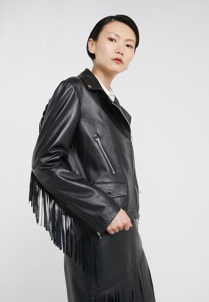 HUGO - LEMIRA - Leather jacket - black
