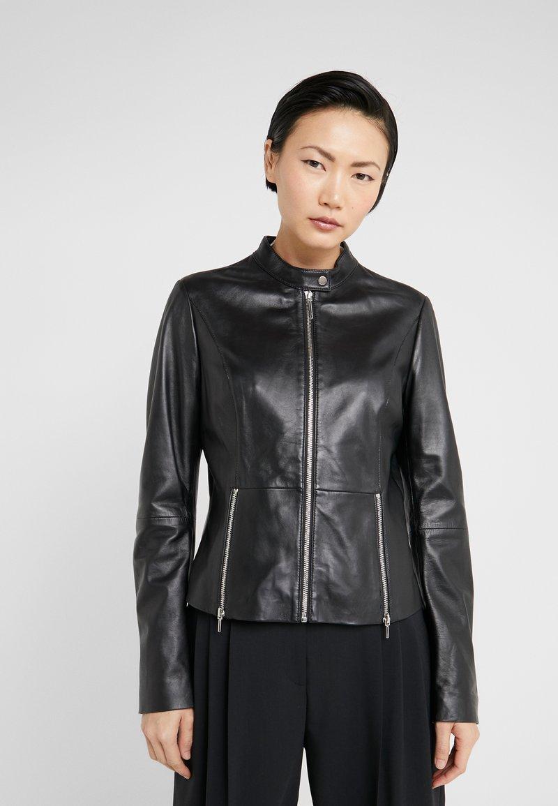 HUGO - LURANA - Kožená bunda - black