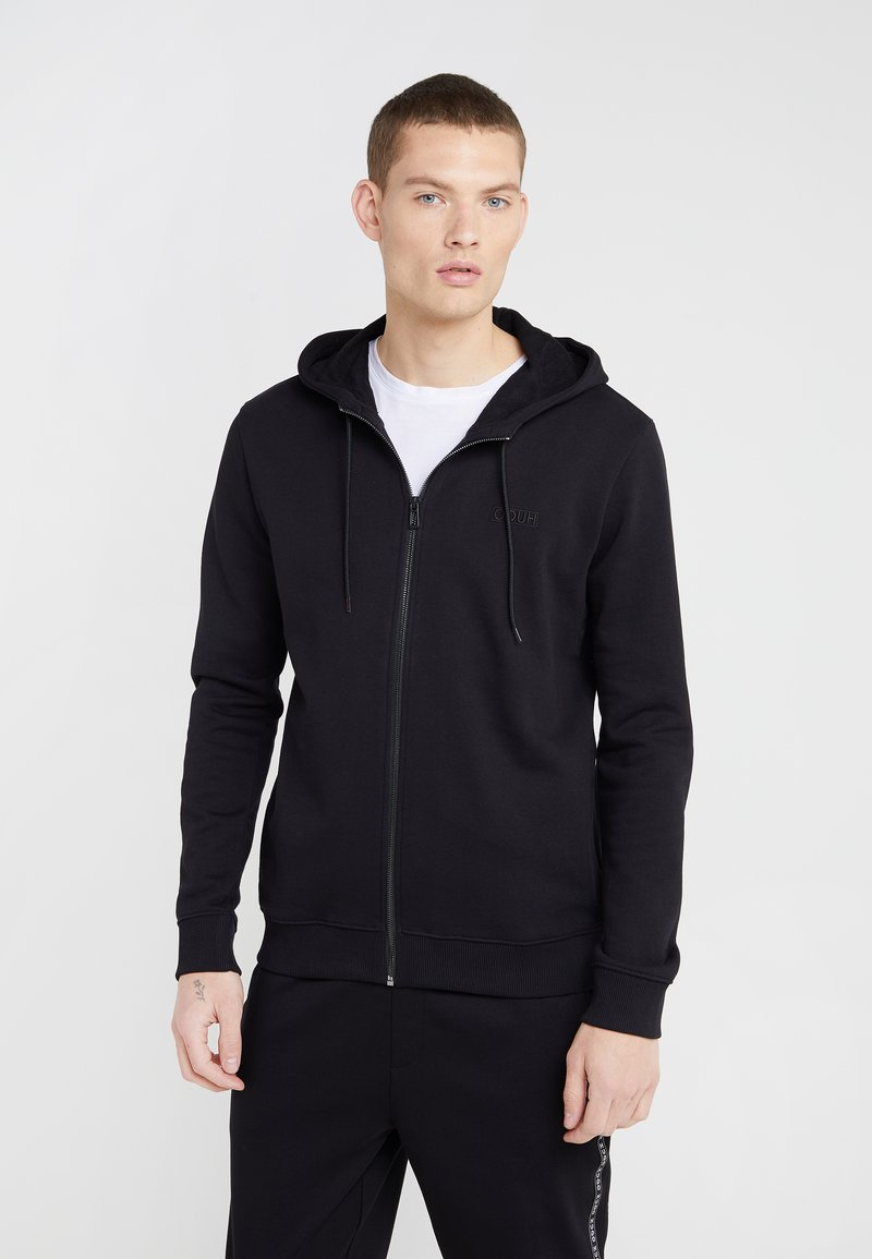 HUGO - DAPLE - Zip-up hoodie - black