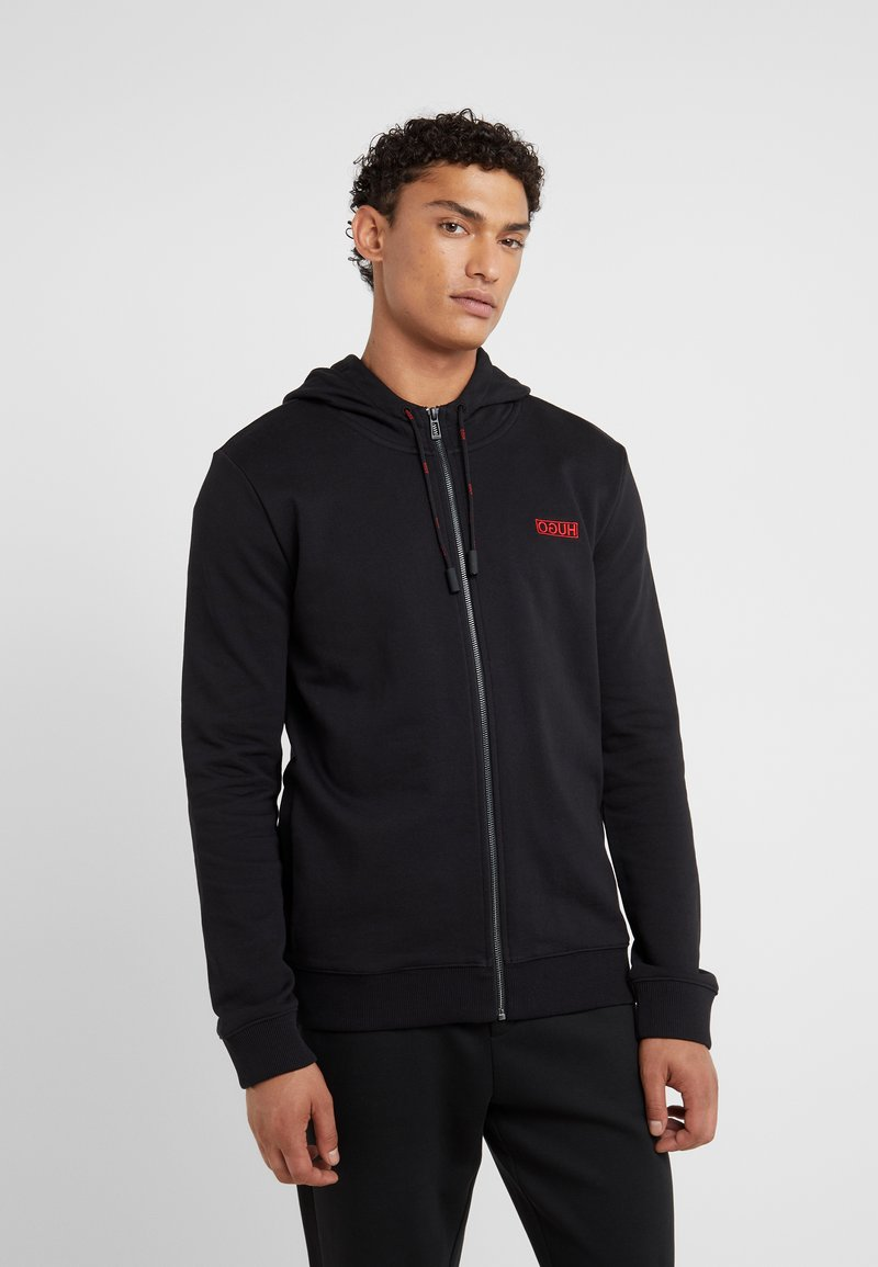HUGO - DAPLE - Zip-up hoodie - black