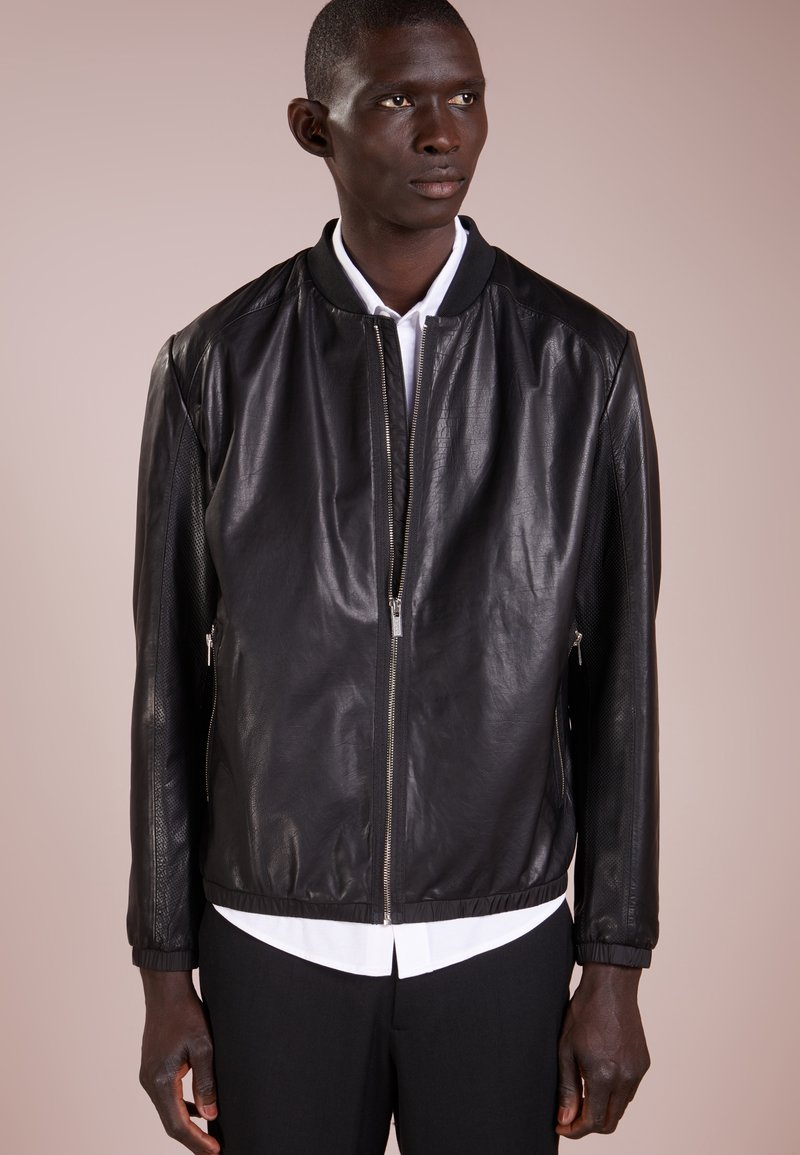 HUGO - LEWY - Leather jacket - black