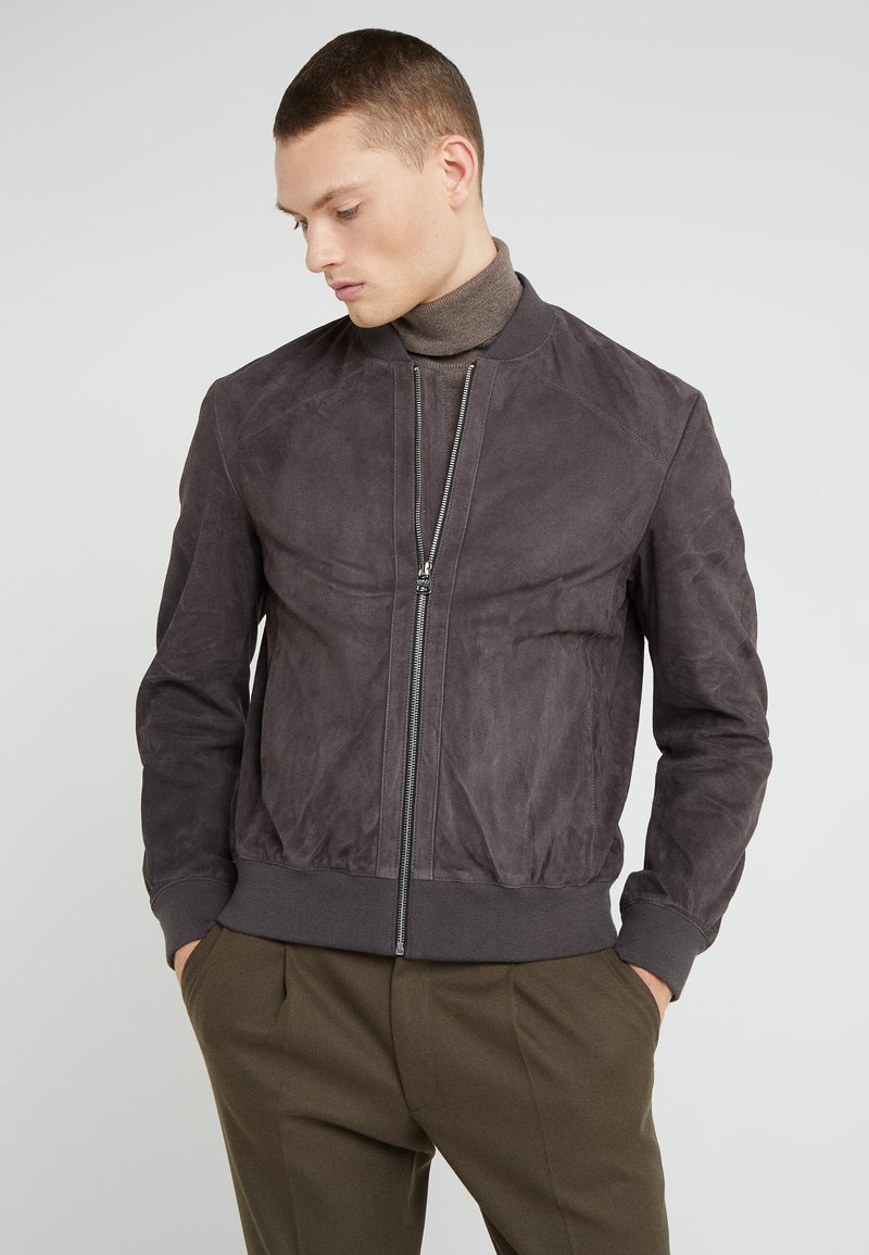HUGO - LARRIS - Lederjacke - dark grey