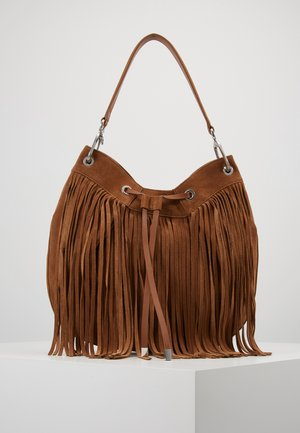SIENNA HOBO FRINGE - Shopping bag - med brown