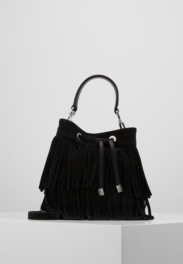 SIENNA DRAWSTRING-SUEDE FRINGE - Handtasche - black