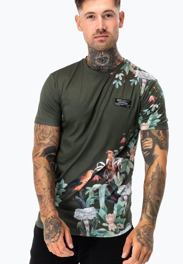 FLORAL - Print T-shirt - khaki/multi