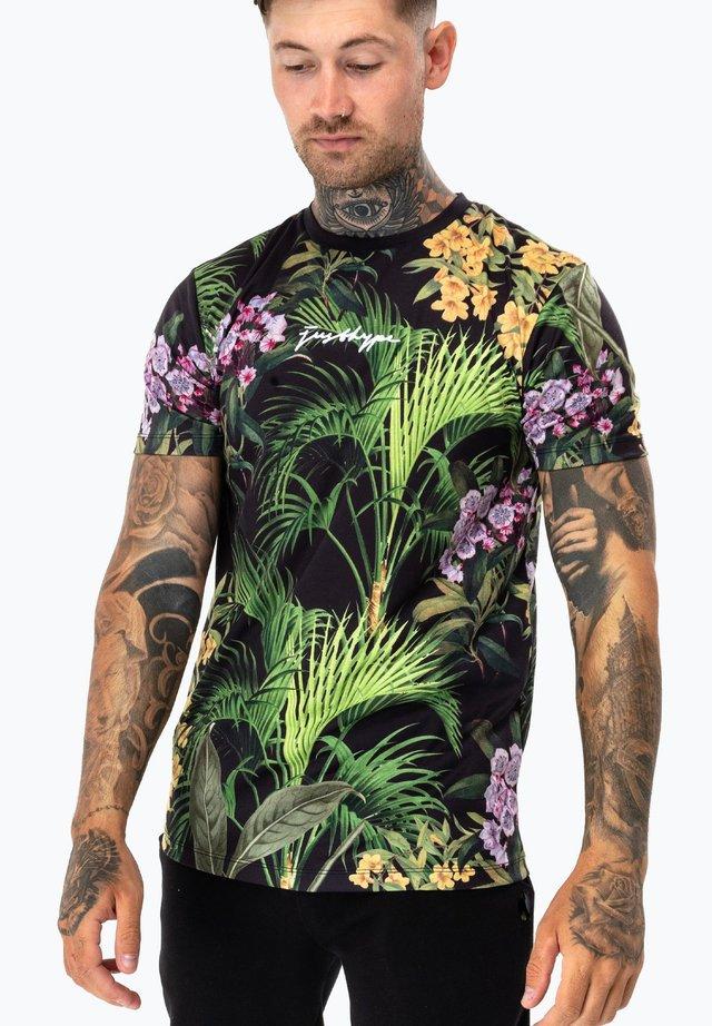 FLORAL - Print T-shirt - black/multi