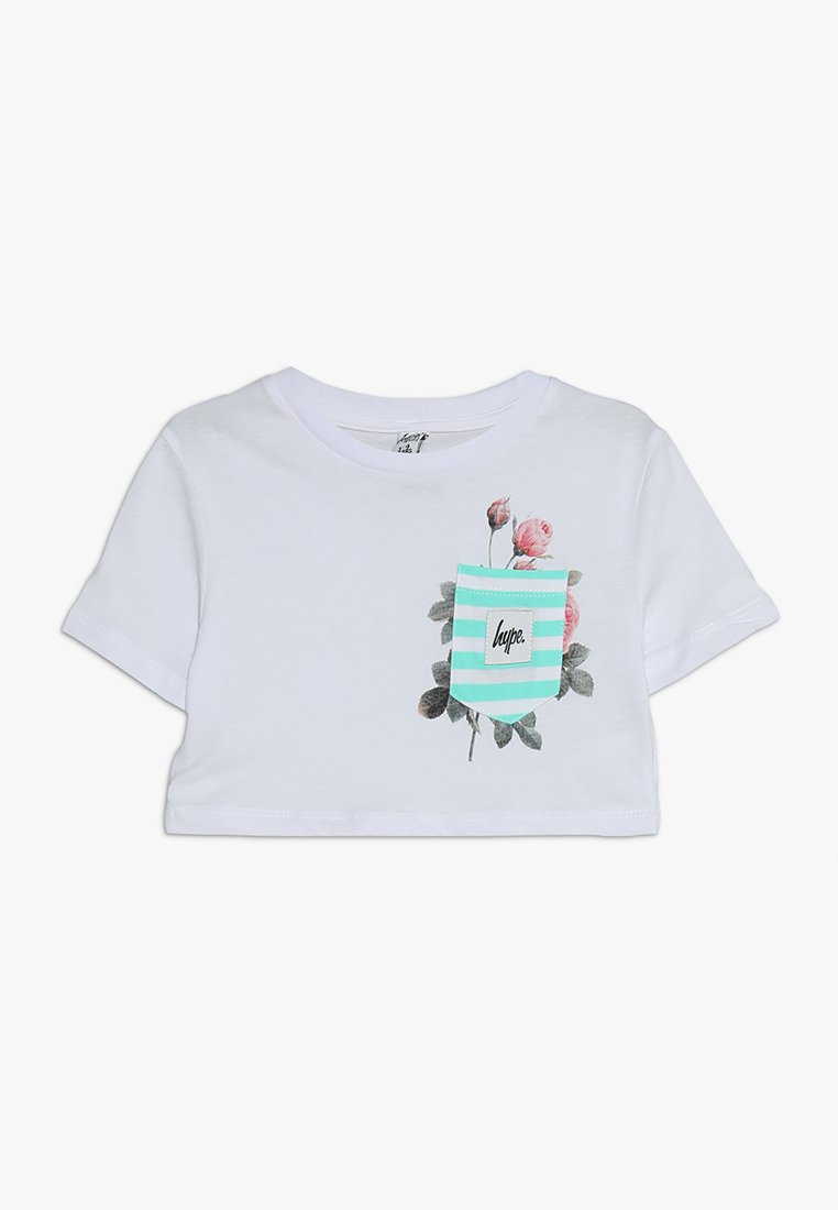 Hype - KIDS CROP ROSE POCKET - T-shirt imprimé - white/multicolor