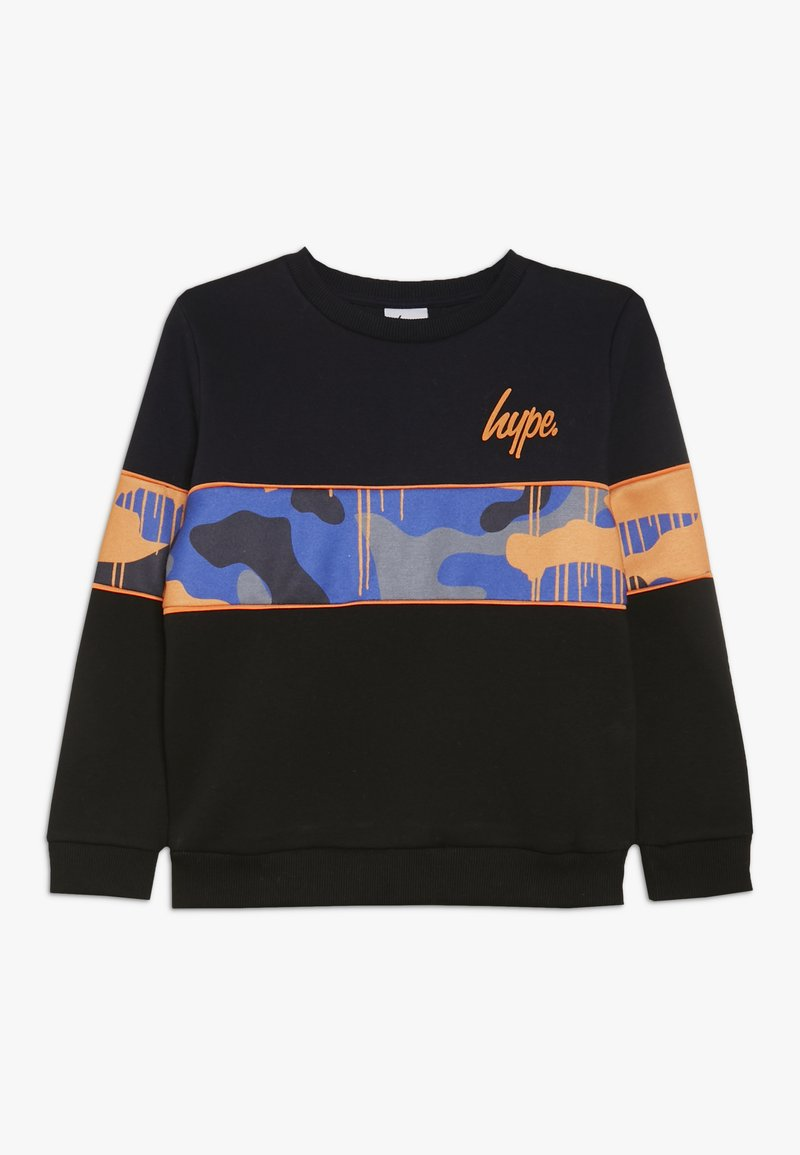 Hype - CREW SCREEN PRINT LOGO PIPING AND SUBLIMATED PANEL - Sweatshirt - black