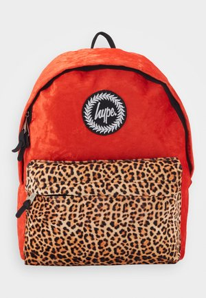 BACKPACK LEOPARD POCKET - Reppu - red