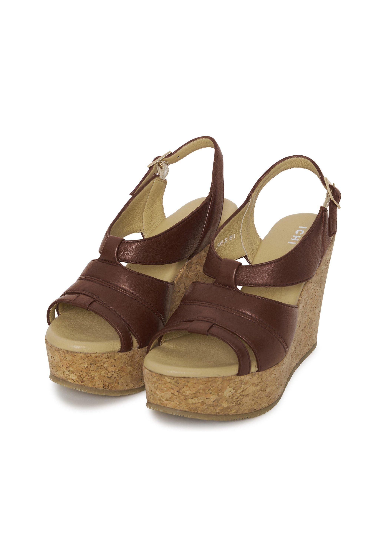 ICHI Sandały na obcasie - brown