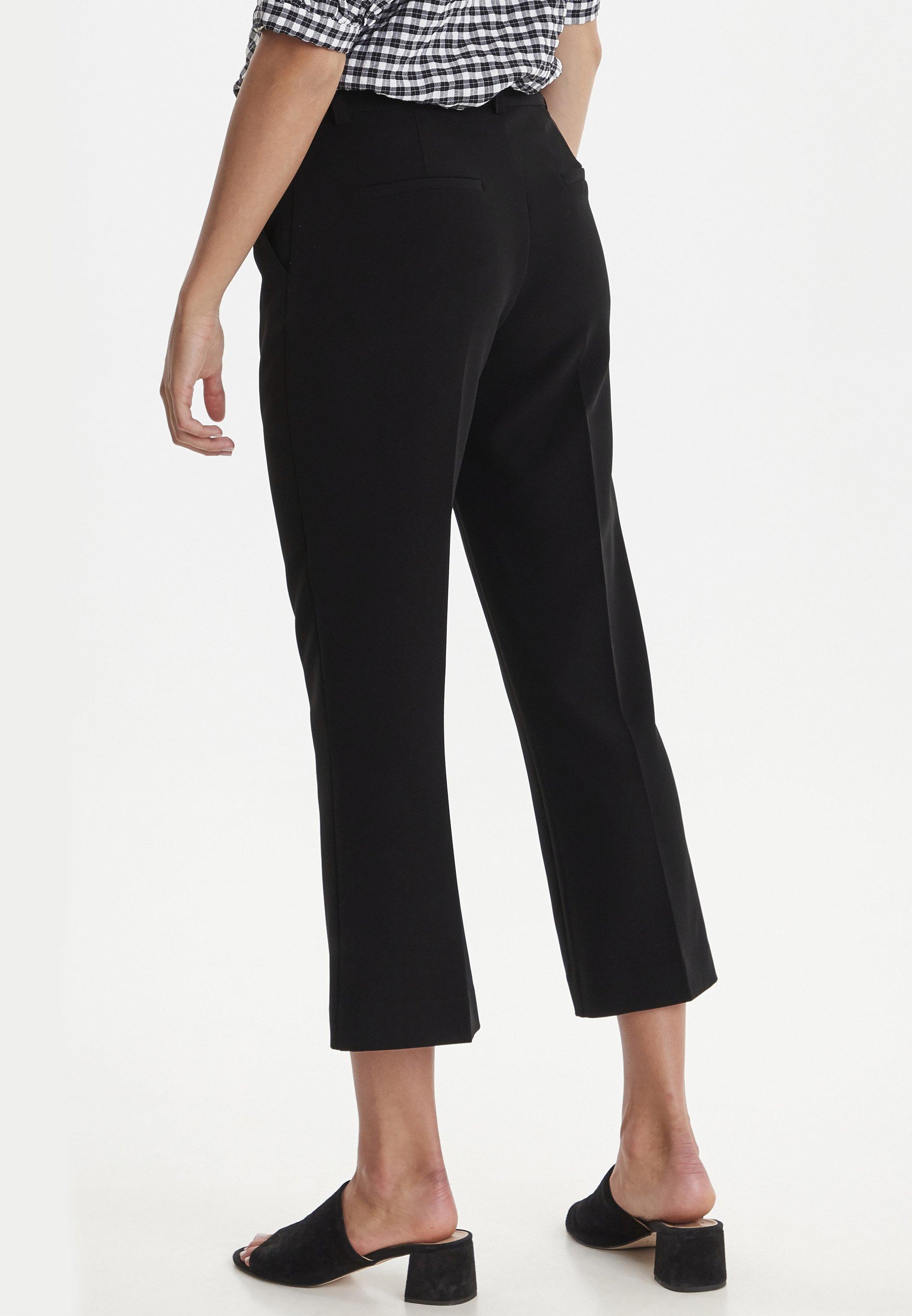 ICHI IXLEXI CROPPED - Spodnie materiałowe - black