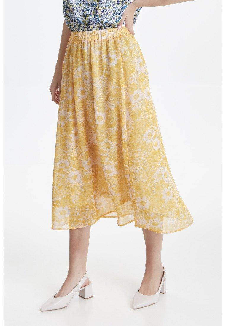 ICHI - IXDAGY - A-snit nederdel/ A-formede nederdele - yellow