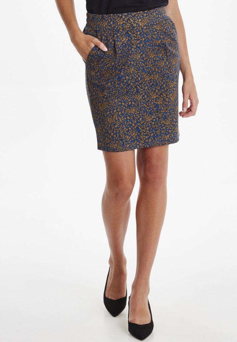 ICHI - IXKATE PRINT  - A-line skirt - blue