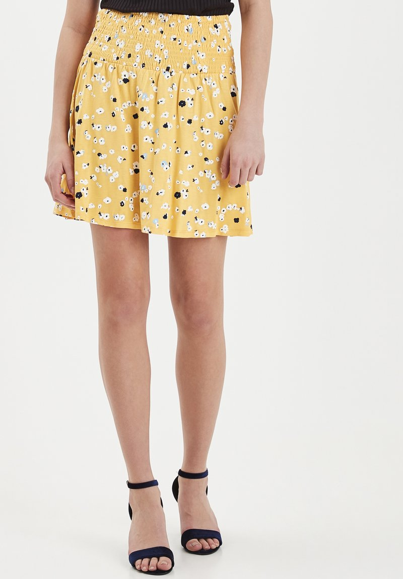ICHI - IHLISA - A-line skirt - buff yellow