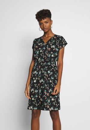 BRUCE - Day dress - black dark/florals combo