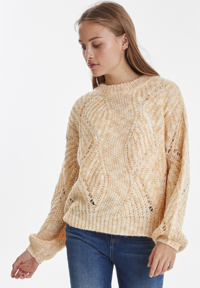 ICHI - IHGINGER LS - Strickpullover - light yellow