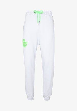 VANDAL - Tracksuit bottoms - white/green fluo