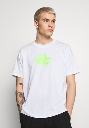 EMBROIDERED - Print T-shirt - white/green fluo