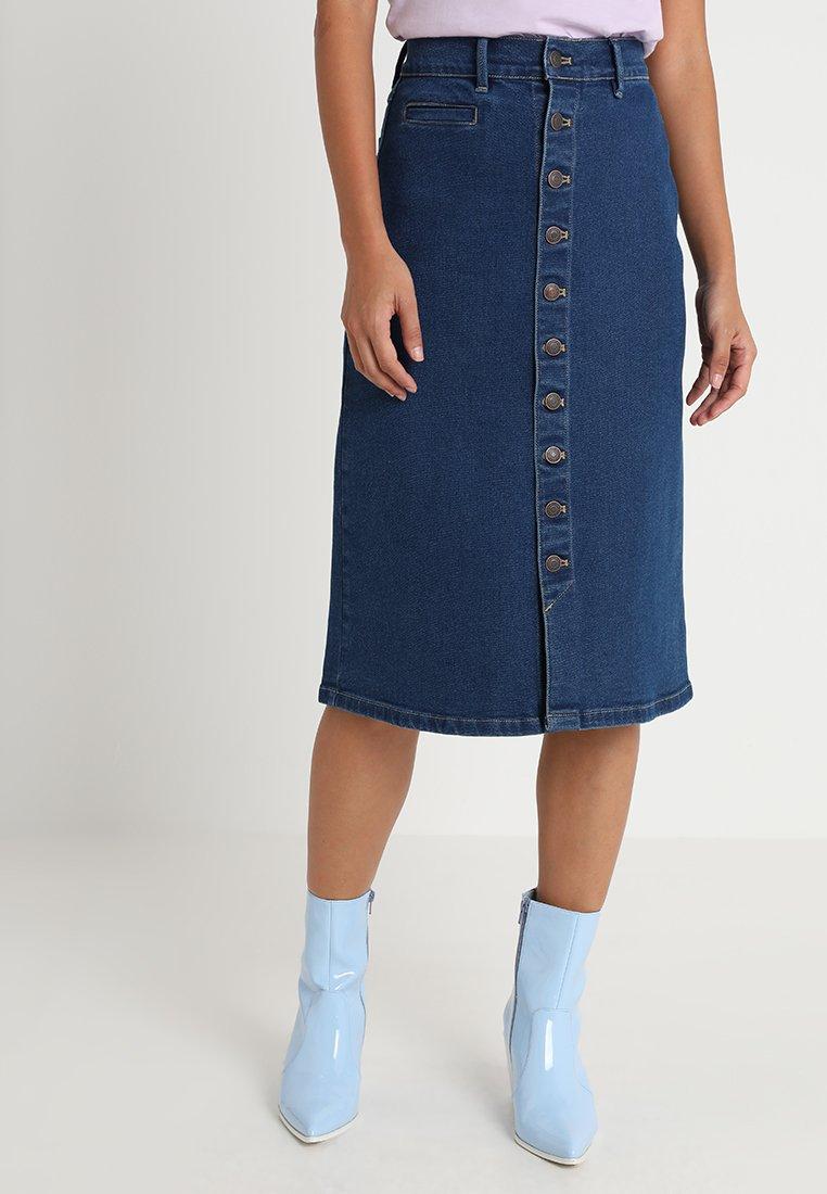Iden - BAILLIE BUTTON SKIRT - A-line skirt - 70's blue