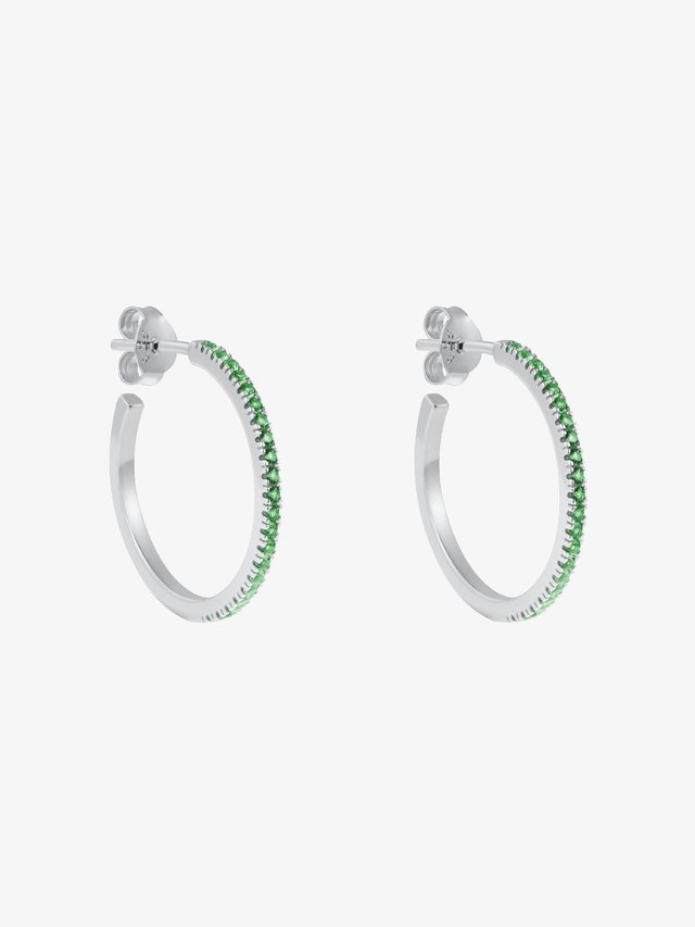 HOOP GREEN SIMPLICITY - Oorbellen - silver coloured