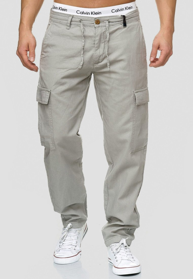 INDICODE JEANS - Cargohose - light grey