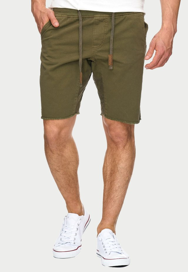 CARVER - Denim shorts - grren
