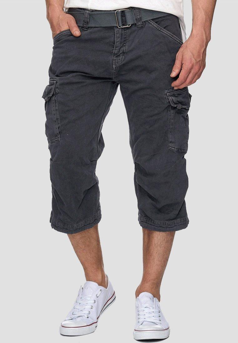 INDICODE JEANS - MIT GÜRTEL NICOLAS - Shorts - dark grey