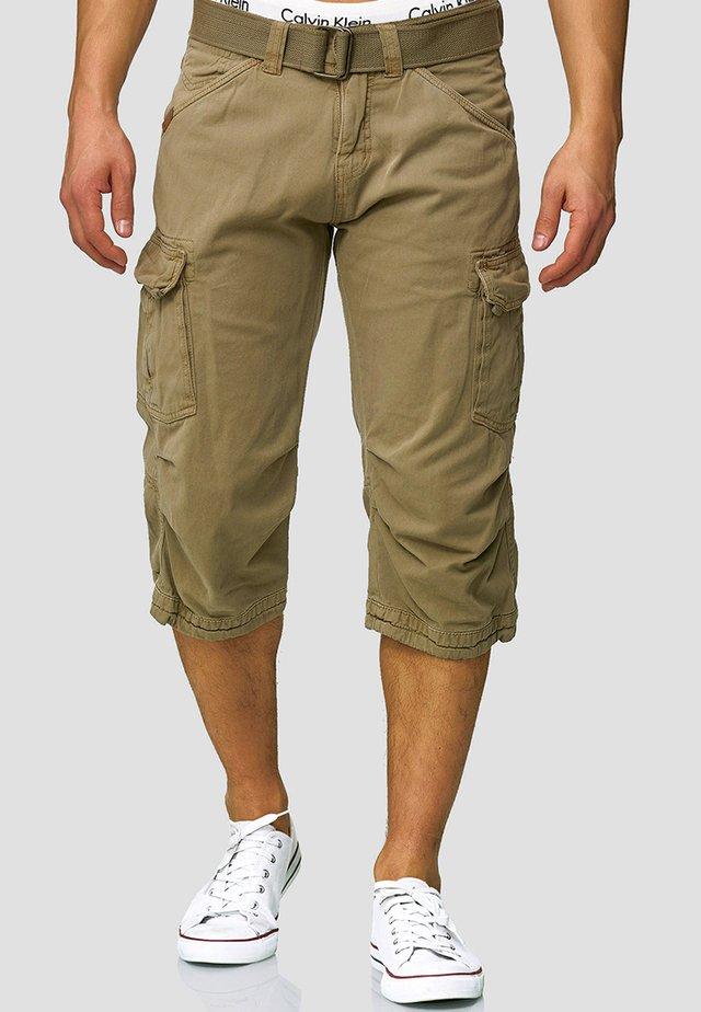 MIT GÜRTEL NICOLAS - Shorts - greige