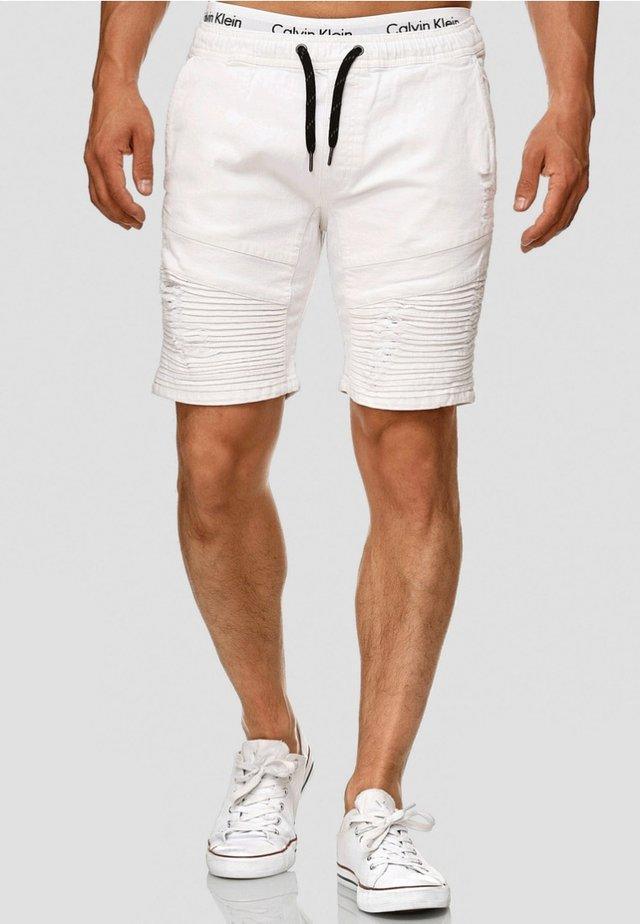 MIT ELASTISC - Jeans Shorts - off white