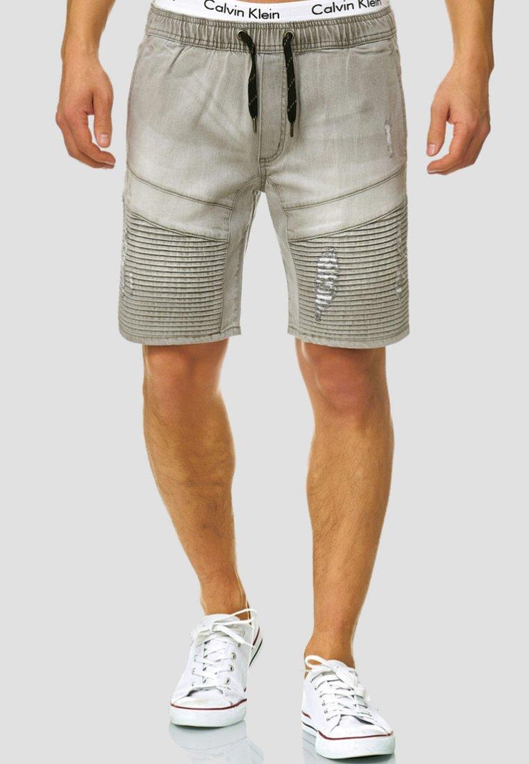 INDICODE JEANS - MIT ELASTISC - Jeans Shorts - light grey